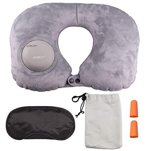 En forma de U portátil compresible inflable Cuello de viaje Soporte para la cabeza almohada con máscara para los oídos Tapones para los oídos para oficina Avión Camping Senderismo Viajes