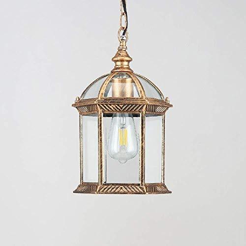 ZSML Lámparas Colgantes de Techo Vintage para Exteriores, luz de Linterna Colgante Impermeable IP65, Pantalla de lámpara Colgante Retro, Luces Exteriores de Aluminio y Vidrio para Patio, jardín,
