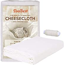 Cheesecloth, Grade 60, 36 Sq Feet, 100% Unbleached Cheesecloth Fabric for Cooking with Cooking Twine, Washable & Reusable Cotton Strainer, Filter(4 Sq Yards Cloth with 4 Yards Twine)