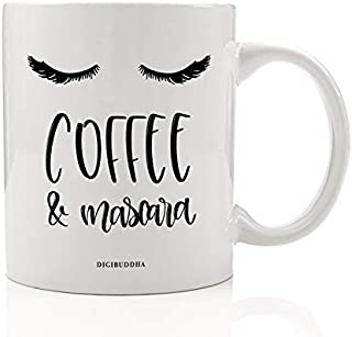 Funny Women's Mug Gift Idea Coffee & Mascara Morning Routine Cute Beautiful Eyelashes Wake Up Basics Birthday Christmas Present Female Friend Family Coworker 11oz Ceramic Tea Cup Digibuddha DM0551
