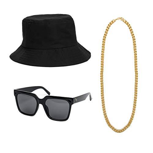 NUWIND - Accesorios Vestuario 3 Piezas Set Disfraces Raperos Hip Hop Geniales de los años 90s Sombrero, Gafas y Cadena en Oro para Fiesta Musical (Negro)