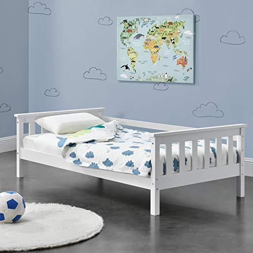[en.casa] Kinderbett mit Stauraum 70x140 cm Jugendbett bis 50 kg mit Lattenrost Kojenbett Kiefernholz Weiß