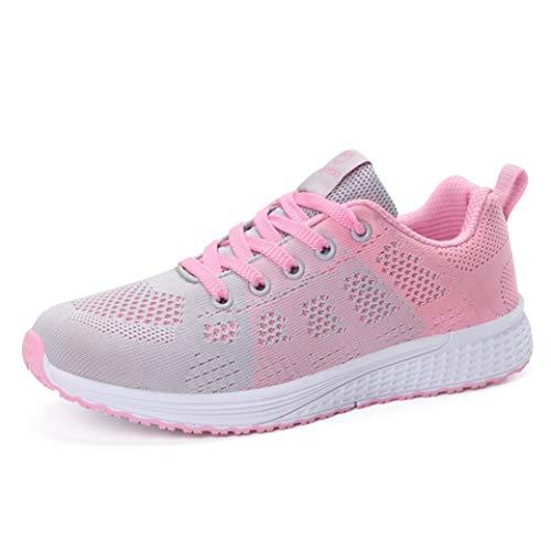 Zapatos para Correr para Mujer Zapatillas de Deporte de Colores Mixtos Zapatillas Deportivas para Correr Zapatillas de Deporte de Malla Transpirable con Cordones