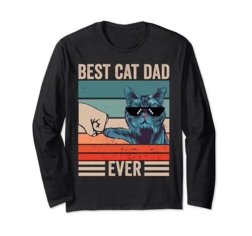 Vintage Best Cat Dad Ever Bump Puño Día del Padre Regalos Manga Larga