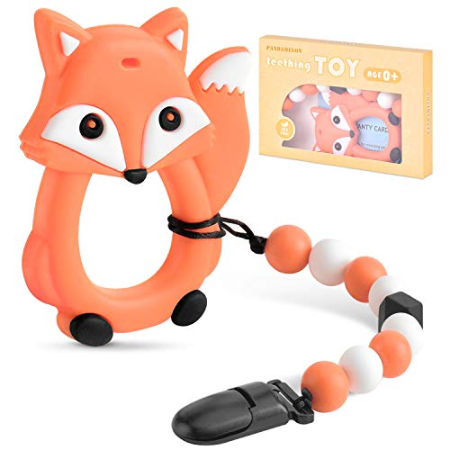 Baby Teething Toys, Fox Teether with Pacifier Clip Holder Kit, for Newborn Infants, BPA Free Silicone, for Boy / Girl, by Pandamelon