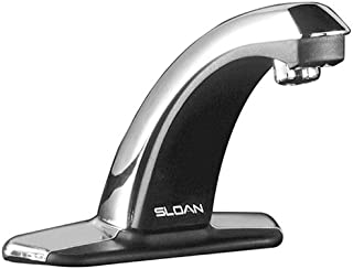 Sloan Valve EBF-85-4 Optima Plus Battery Powered Sensor Activated Electronic Hand Washing Faucet with Trim Plate for 4-Inch Centerset Sink, Chrome