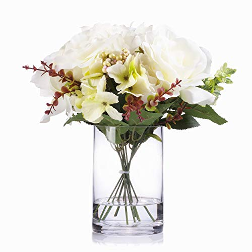 Enova Home Mixed Rose and Hydrangea Silk Flower Arrangement in Clear Glass Vase with Faux Water for Home Wedding Centerpiece (Cream) Silk Flower Arrangements