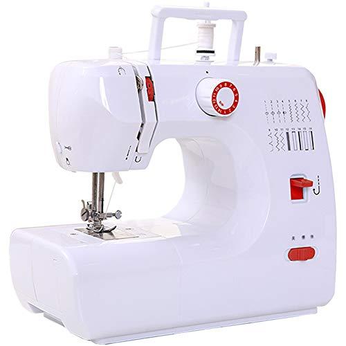 SEGIBUY Mini-naaimachine, draagbare elektrische naaimachine, handverstelbaar, 2 versnellingen, met voetpedaal, voor het naaien thuis