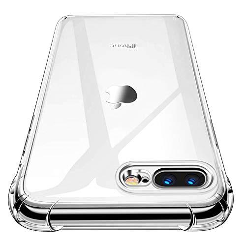 Garegce Cover per iPhone 8 Plus, Custodia per iPhone 7 Plus, 1 Pack Vetro Temperato, Trasparente Silicone Morbido, Antiurto Protettiva Case per iPhone