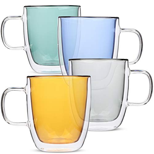 BTaT- Colored Double Walled Glass Coffee Mugs Set of 4 12oz 350ml Assorted Colors Colorful Coffee Cups Insulated Coffee Mug Double Wall Glass Coffee Cups Tea Cups Latte Cup Glass Coffee Mug
