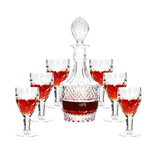 Kit de 7 pièces Whisky, avec Carafe à Décanter et Bouchon, Verre en Cristal, Bouteille de Whisky 800ml avec 6 Verres à Whiskey 100ml