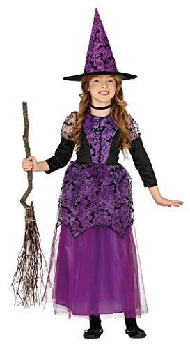 Guirca - Disfraz de Bruja para niña de 5/6 años, Color Negro y Morado, de 5 a 6, 87757.