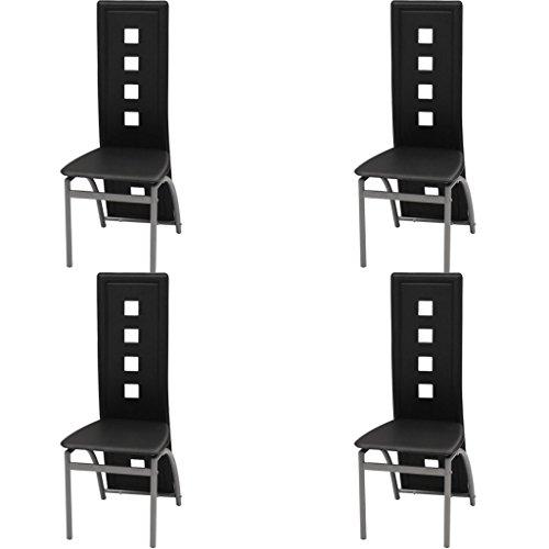 vidaXL 4X Sillas de Salón Comedor Modernas de Cuero Artifical Negro y Acero