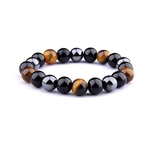 Bracelet Triple Protection Oeil de tigre, perles en hématite et obsidienne noire de l'UEUC