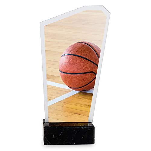 Trofeos Martínez - Trofeo de metacrilato Impreso a Color con Base mármol Baloncesto. (22cm)