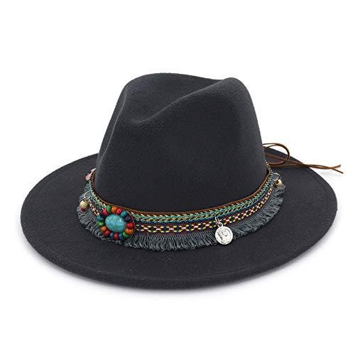 Men Women Vintage Felt Fedora Hat Wide Brim Panama Hats with Buckle-Dark Grey