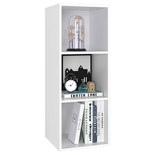 Bücherregal Bücherschrank 3 Nischen Standregal Aktenregal aus Holz für Wohnzimmer Büro Schlafzimmer 30 x 30 x 80 cm weiß
