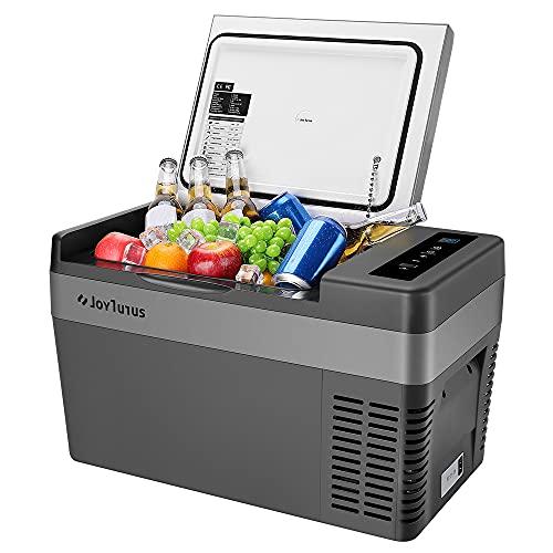 JoyTutus 12 Volt Portable Car Refrigerator, 26 Quart(25L) Fridge with Compressor, Travel Freezer for DC 12/24V and AC 110V, -7.6℉ to 50℉, Electric Cooler for Camping, RV, Vehicle, Truck,Van, Boat, Road, Outdoor, Trip, Home