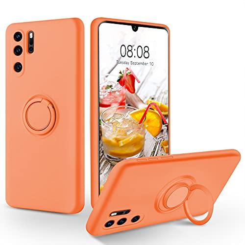SouliGo Huawei P30 Pro Hülle, Huawei P30 Pro Handyhülle Silikon Gel Slim Hülle Cover mit Ring Halter Ständer stabil Kratzfest Hülle für Huawei P30 Pro/Huawei P30 Pro New Edition Orange