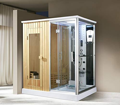 XXL Luxus LED Dampfdusche+Sauna-Kombi Set Sauna-Komplettdusche Duschtempel+Radio