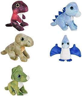 "Five (5) Adorable Mini Dinosaur 5"" Plush - T-REX Stegosaurus Brontosaurus Triceratops Pteranodon Prehistoric Toys Beanie S..."