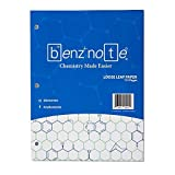 BENZNOTE, Loose Leaf Filler Paper, for Organic and Bio Chemistry, 8-1/2' x 11', Hexagonal Graph Rule, Green Lined, 3-Hole Punched, 112 Pages