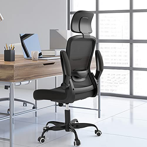 Ergonomic Office Chair, Computer Desk Chair with Large Adjustable Headrest,High Back Mesh Chair with Lumbar Support and Flip-up Arms, Height Adjustable Task Chair for Home Office (Black)