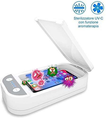 scatola sterilizzatore per smartphone con luce UV custodia per gioielli con spazzolino da denti e orologi,White disinfezione con funzione di aromaterapia Sterilizzatore per telefoni