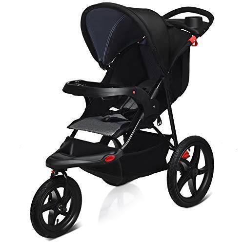 COSTWAY Jogger Buggy zusammenklappbar, Dreirad Buggy mit Liegefunktion, Sitzbuggy, Babybuggy, Kinderbuggy, Kinderwagen, Jogging Buggy für Baby ab Geburt bis 36 Monate (Schwarz)
