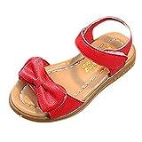 YWLINK Sandalias NiñAs,Zapatillas Los Deportes Bowknot Sandalias Antideslizantes Princesa Zapatos Ocasionales Zapatos De Playa Zapatos Romanos(Rojo,22 EU)
