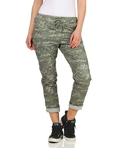 ZARMEXX Damen Sweatpants Baggy Boyfriend Sommerhose Chino Stretch All-Over Print One Size