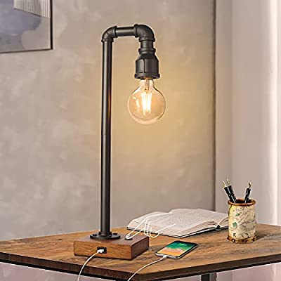 Industrial Table Lamp with USB Charging Port, 3 Way Dimmable Touch Control Bedside Lamp Water Pipe Steampunk Lamp Iron Vintage Nightstand Lamp for Living Room, Bedroom, Office, 6W LED Bulb Included