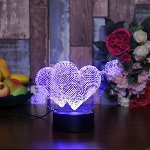 Z-HOMZYY 3D LED illusie lamp nachtlampje, optische nachtkastje nachtlampjes verlichten kinderlamp 7 kleurverandering touch-knop USB-kabel decoratie bureaulampen, liefde