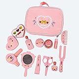 Amagogo 12 Piezas de Juguetes de Madera de imitación para niñas, 9 Piezas de Juego de Maquillaje Juego de peluquería para niños de 2 años de Edad