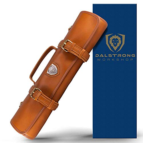 Dalstrong - Vagabond Knife Roll Full & Top Grain Brazilian Leather Roll Bag - 16 Slots - Interior and Rear Zippered Pockets - Blade Travel Storage/Case (California Brown) - Large - Up to 20' Knives