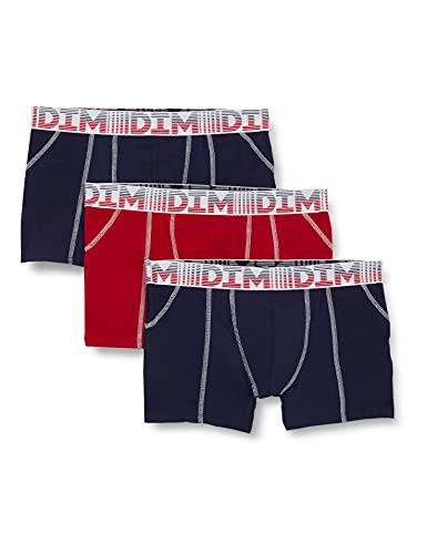 Dim Boxer 3D Flex AIR X3 Boxeur ajusté, Bleu Denim/Rouge feu/Bleu Denim, XX-Large Homme