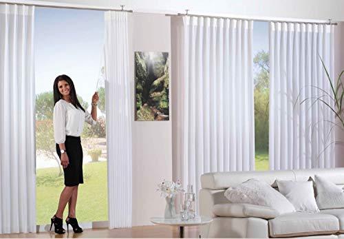 Aix Home GmbH Fertiggardine Gardinen auf Maß | Store | Weiß | Voile Gardine 1:2,5 Wellenband 1er Faltenband 90mm, Stoffbreite | Fertigbreite:St.Br 800cm | f.Breite 320cm, Höhe:145cm