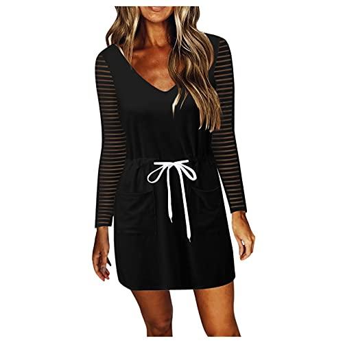 IKFIVQD Vestido de manga larga con cuello en V para mujer, estilo casual, con cordón, con cintura holgada, talla grande, Negro, XX-Large