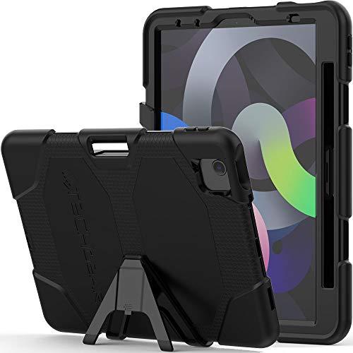 TECHGEAR G-Shock Funda Compatible con iPad Air 4 2020 (4a generación) - Funda Protectora Prueba de Choques con Soporte - Carcasa Niños Escuelas Constructores Trabajadores [Negro]