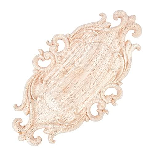 PandaHall 2 unids Oval madera tallada apliques Onlay marco calcomanía vintage de madera sin pintar para el hogar, aparador, cama, armario, muebles, decoración, 11 x 20 cm/4.3 x 7.8 pulgadas