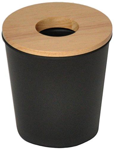 Opportunity Ebonite Mini Poubelle, Plastique et bois, Noir, 13 x 13 x 14 cm