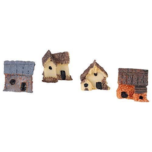 rongweiwang 4 Pezzi Kit Miniatura Fairy Garden Case di Pietra Mini casetta House Miniatures Decor...