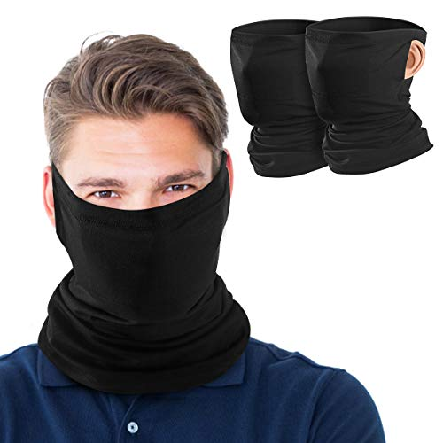 MoKo Neck Gaiter Face Mask with Filter Pocket for Women Men, 2 Pack Bandana Face Mask with Ear Loops Balaclava UV Sun Protection Face Cover Scarf for Dust Wind Outdoors Motorcycle Cycle Skating, Black