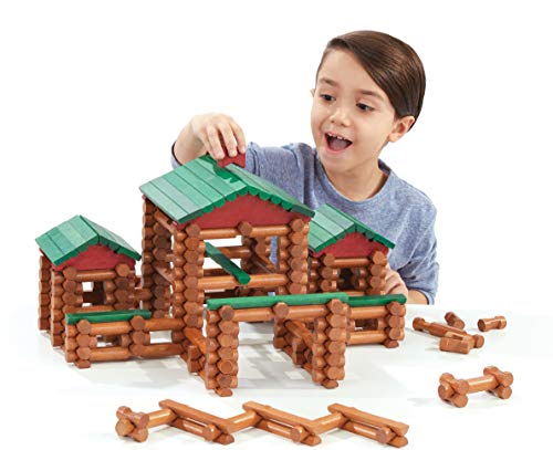 LINCOLN LOGS – Classic Farmhouse - 268 Pieces - Real Wood Logs - Ages 3+ - Best Retro Building Gift Set for Boys/Girls – Creative Construction Engineering-Top Blocks Game Kit - Preschool Education Toy
