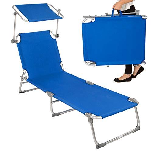 JYJYES Tumbona Plegable Multiposiciones Playa/Camping, con Parasol Relax Ergonómica Transpirable Tumbona Reclinable para el JardínBlue