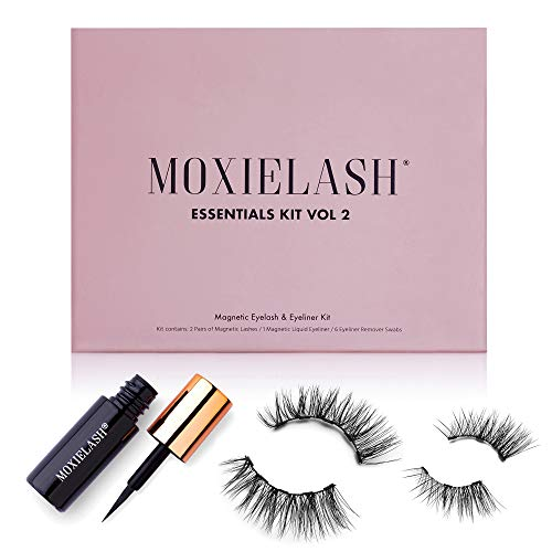 MoxieLash Essentials Vol 2 - Mini Liquid Magnetic Eyeliner for Magnetic Eyelashes - No Glue & Mess Free - Fast & Easy Application - 4 Lashes Included & Makeup Remover (Essential Kit #2)