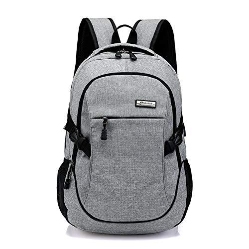 Laptop Rucksack 15,6 Zoll Unisex Business Laptoprucksack mit USB Ladeanschluss Daypack Schulerucksack Reiserucksack Herren Damen (Grau)