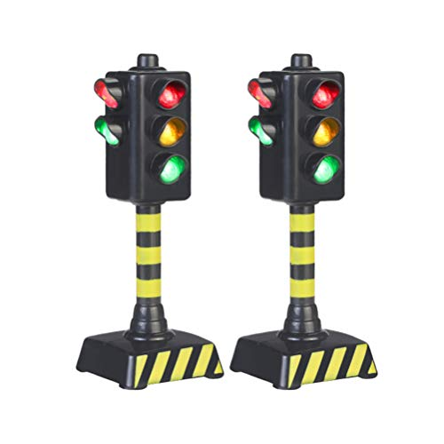 STOBOK Traffic Light Toy,Mini Traffic Signal Light Model Toy Child Educational Toy,Pack of 2
