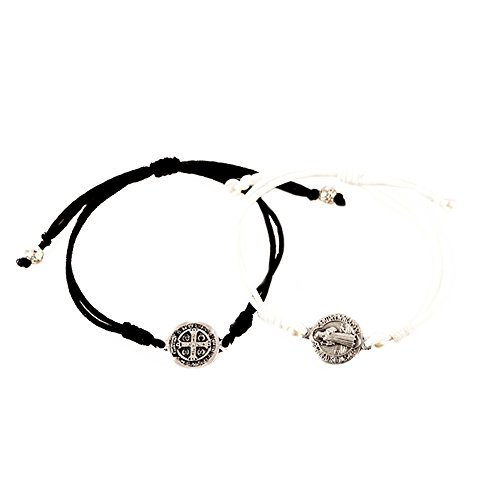 My Saint My Hero 'Forever One' Mr. & Mrs. Bracelet Set, Adjustable with Silver Plated Benedictine Medals
