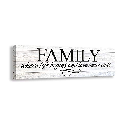 Kas Home Inspirational Quotes Motto Canvas Wall Art,Family Prints Signs Framed, Retro Artwork Decoration for Bedroom, Living Room, Home Wall Decor (5.5 X 16 inch, Family)